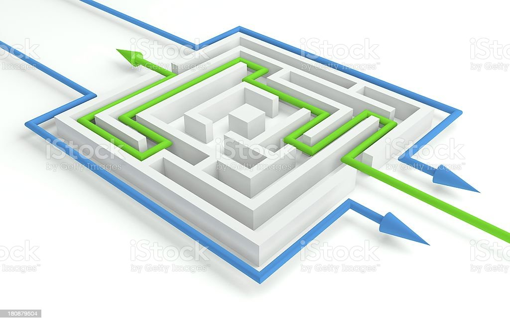 Several Solutions to the Maze, 3d Business Concept royalty-free stock photo