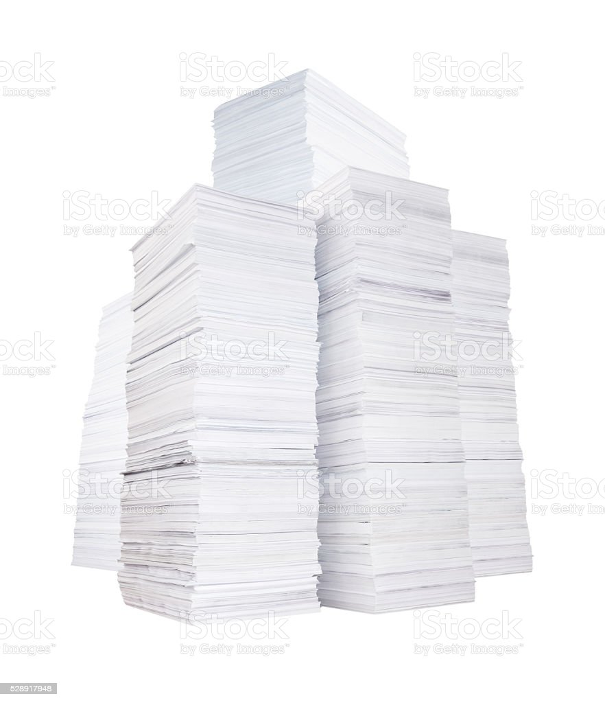 Several stacks of paper stock photo
