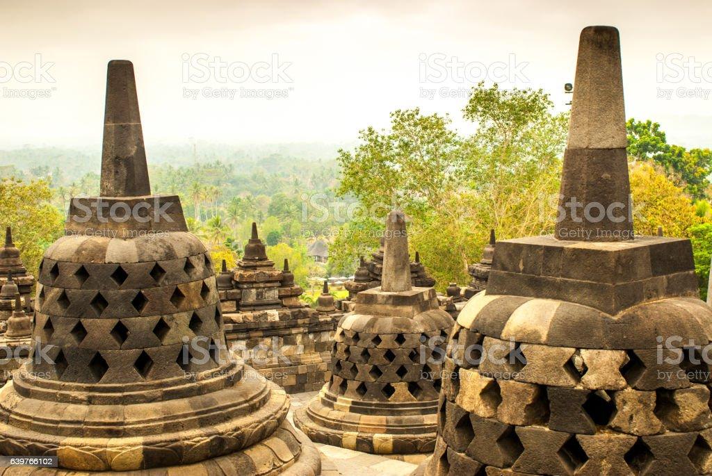 Several Stupas of Borobudur Java island, Indonesia stock photo