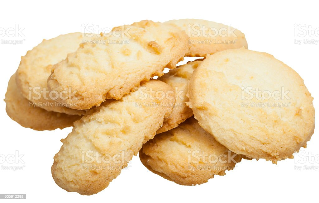 several sweet Shortbread cookie isolated stock photo