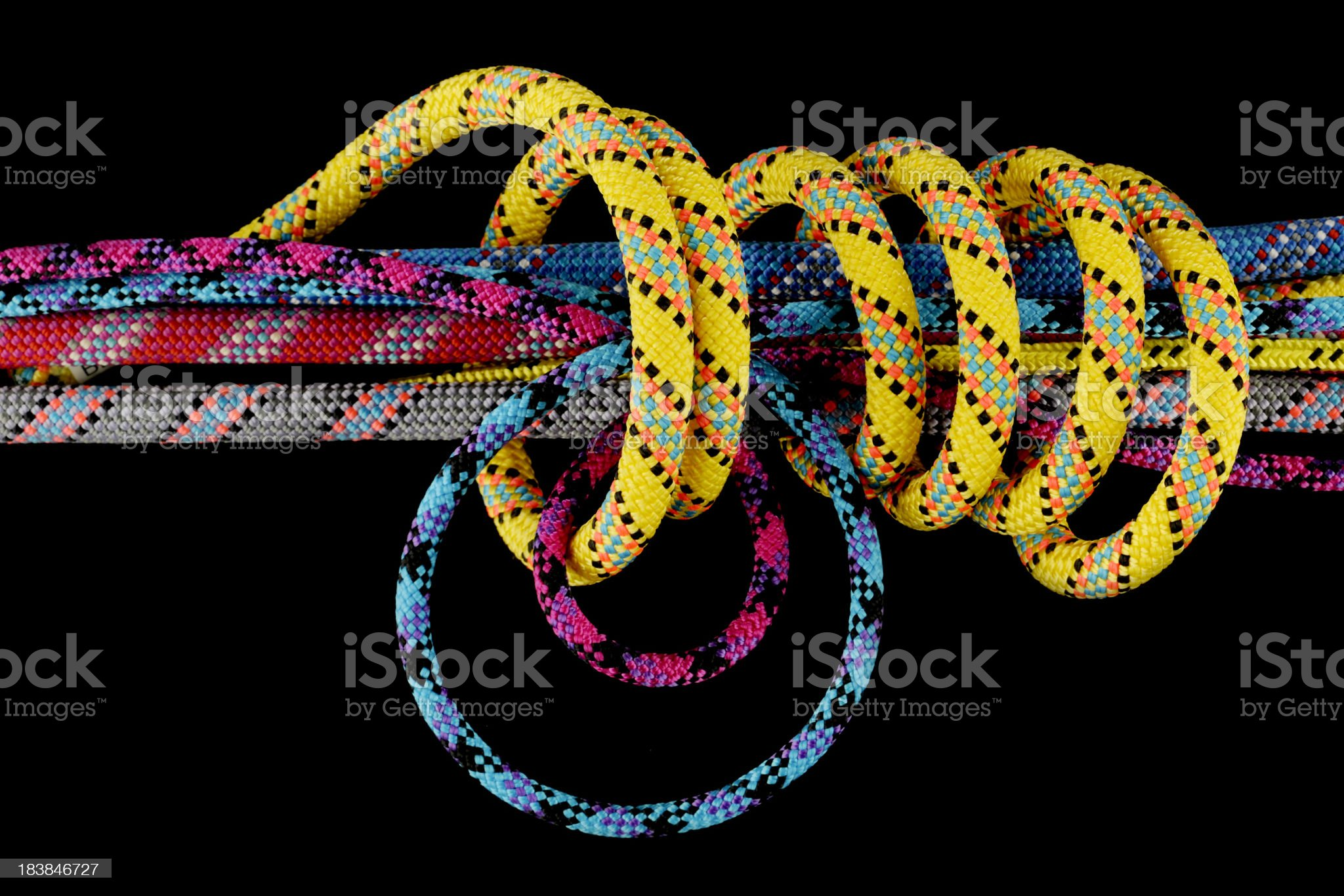 Several tied ropes royalty-free stock photo