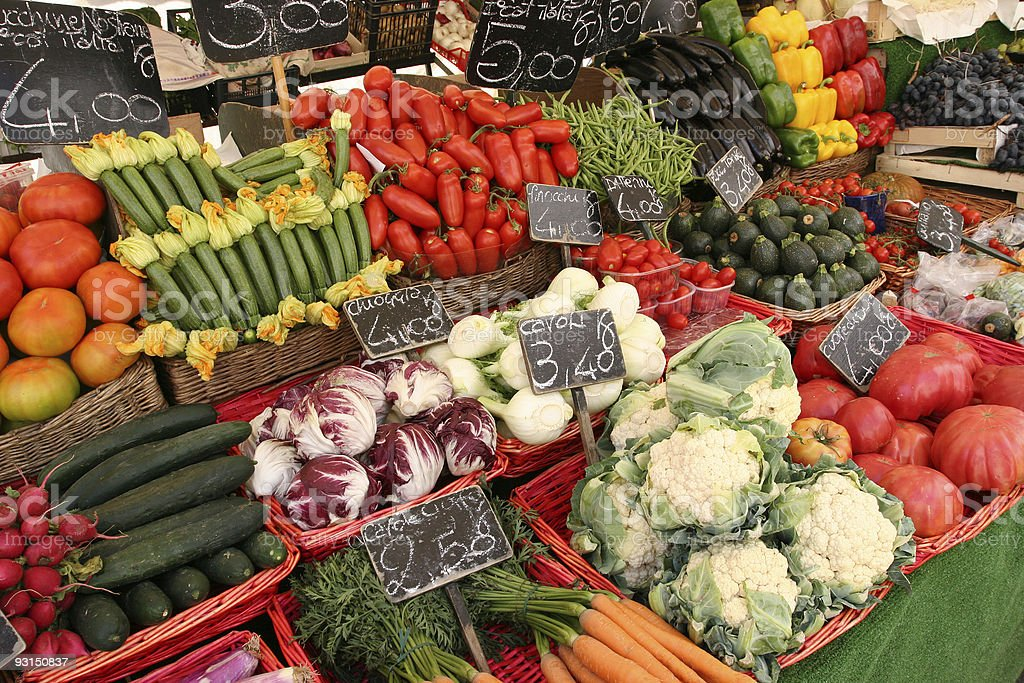 Several vegetables for sale on the market stock photo