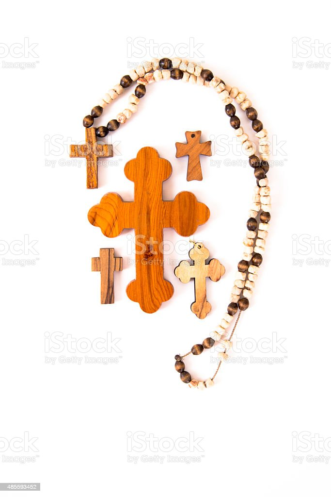 several wooden crosses stock photo