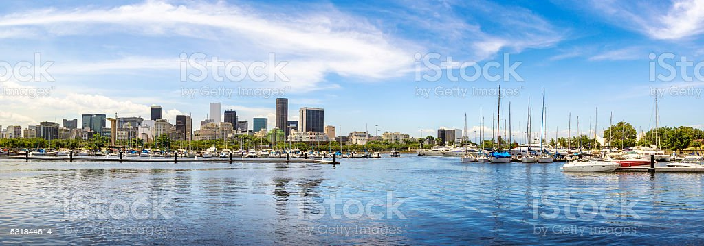 Several yachts docked at the harbor stock photo