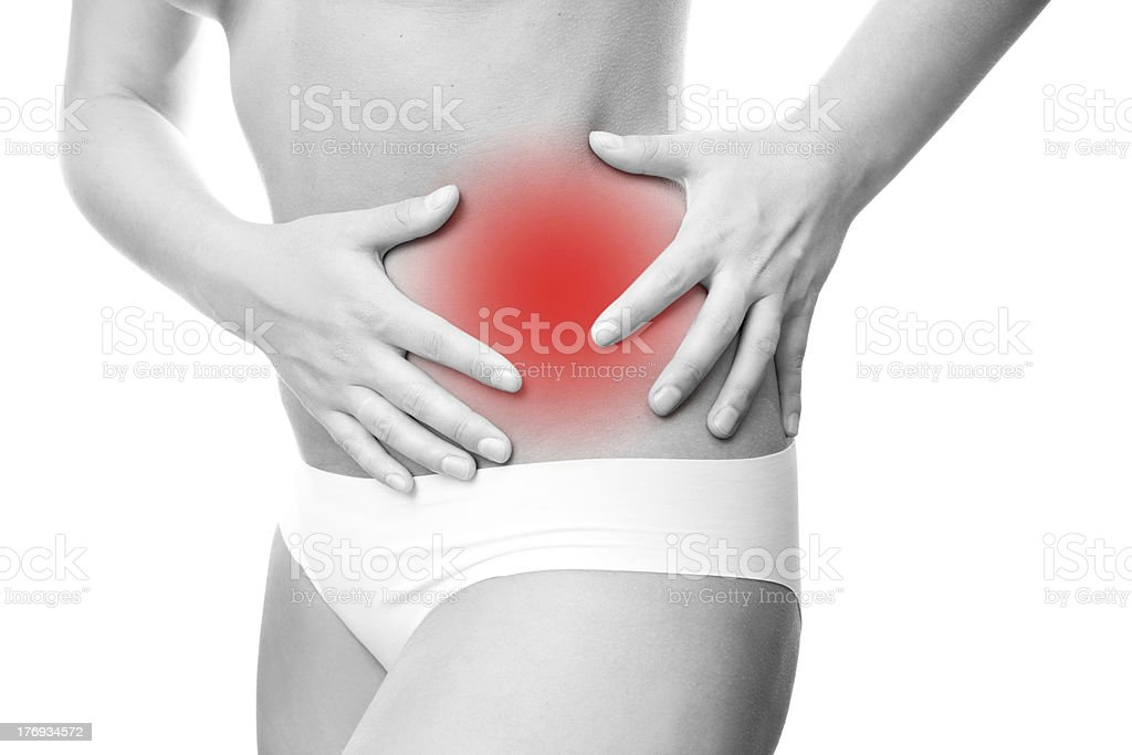 Severe abdominal pain stock photo