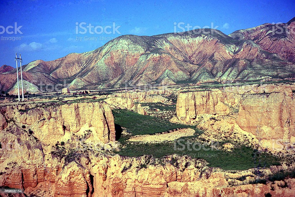 Severe Erosion in Loess Plateau Landscapes of Inner Mongolia China stock photo