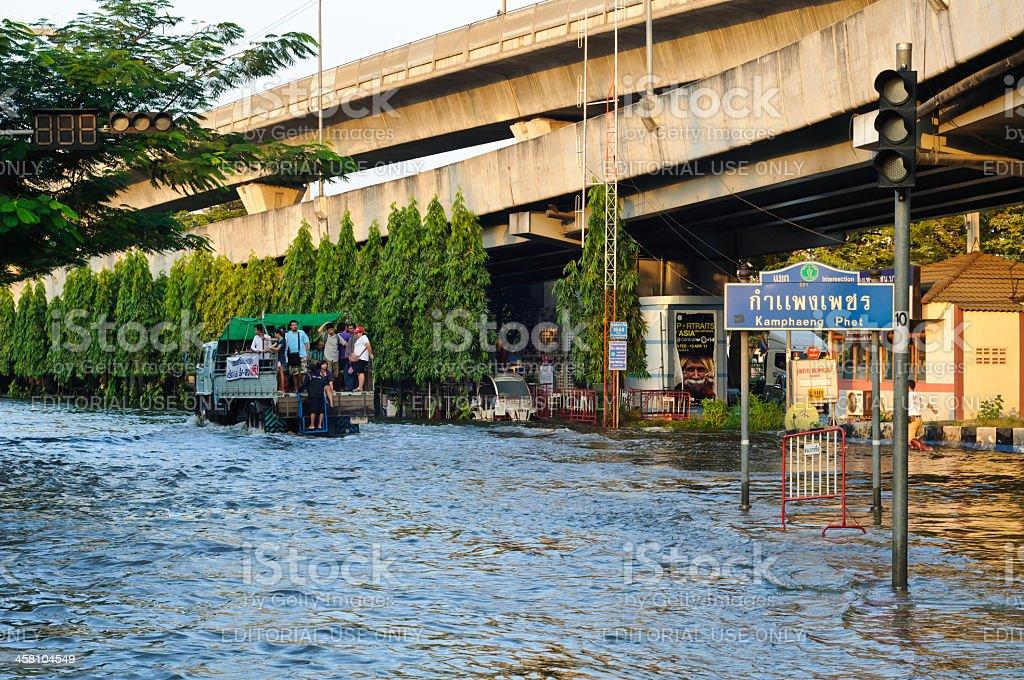Severe flood in Bangkok royalty-free stock photo