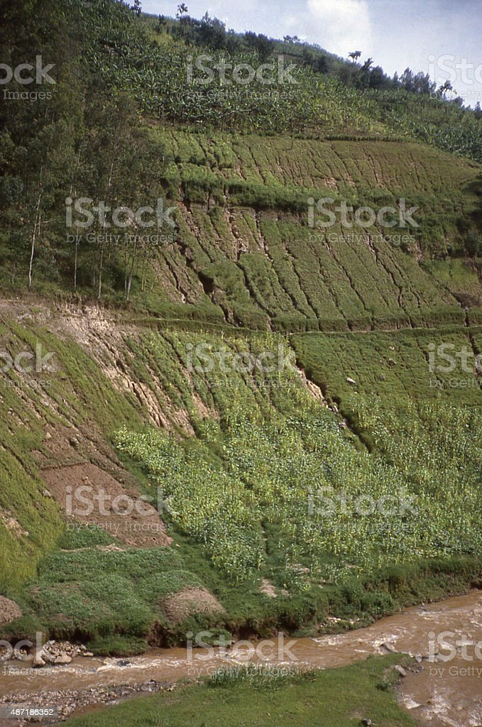severe soil erosion Mukungwa River Northern Province Rwanda Central Africa stock photo