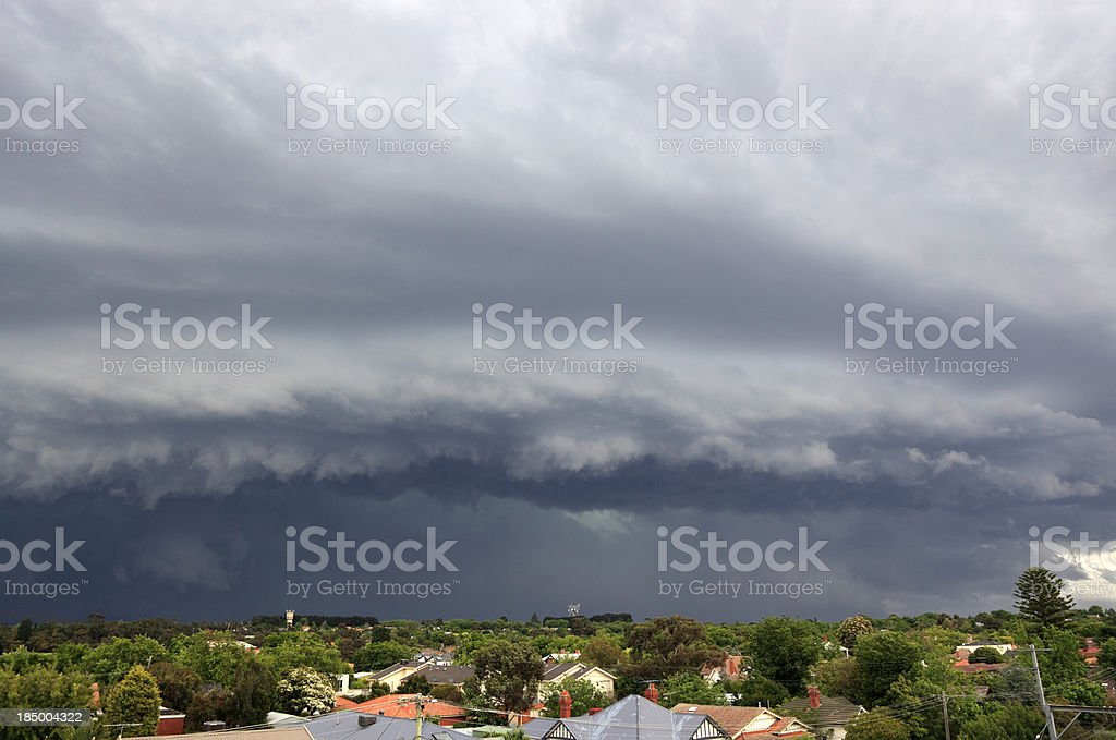Severe storm threatens city suburbs royalty-free stock photo