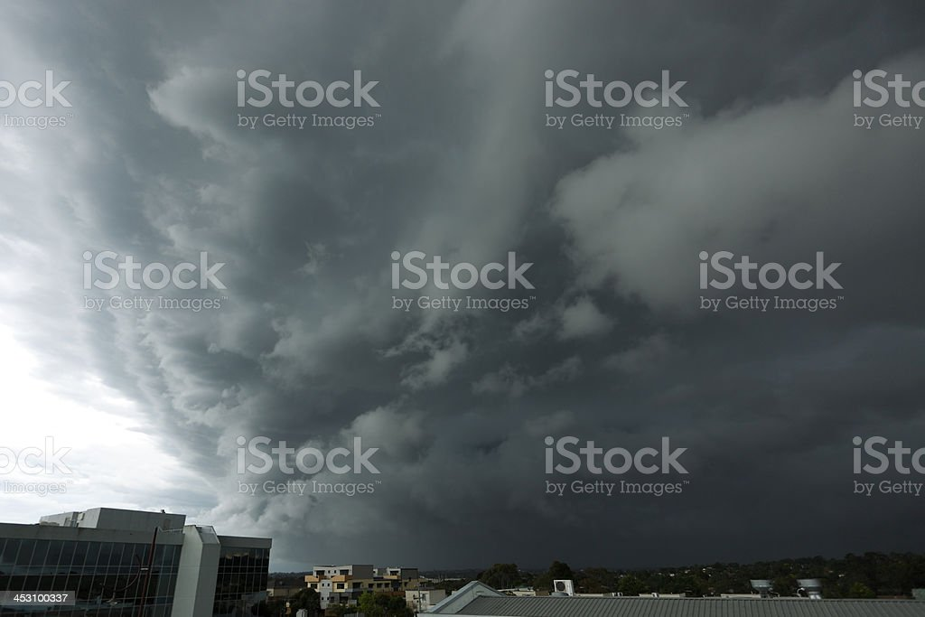 Severe storm threatens leafy city suburbs stock photo