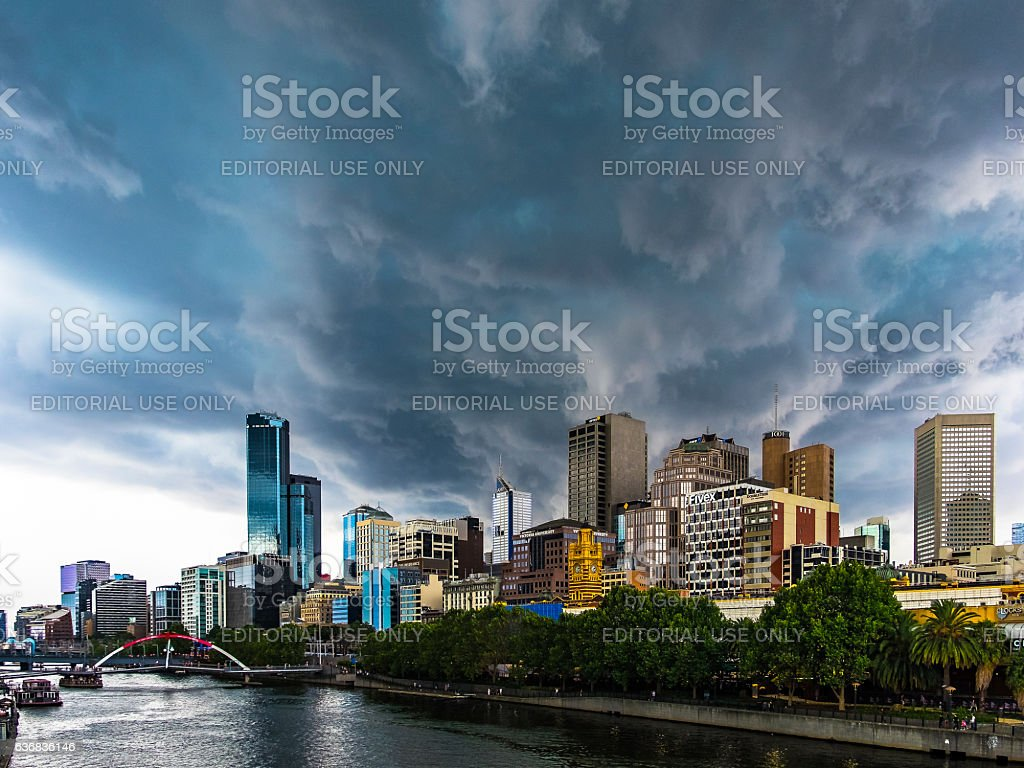Severe summer storm threatens Melbourne city downtown stock photo