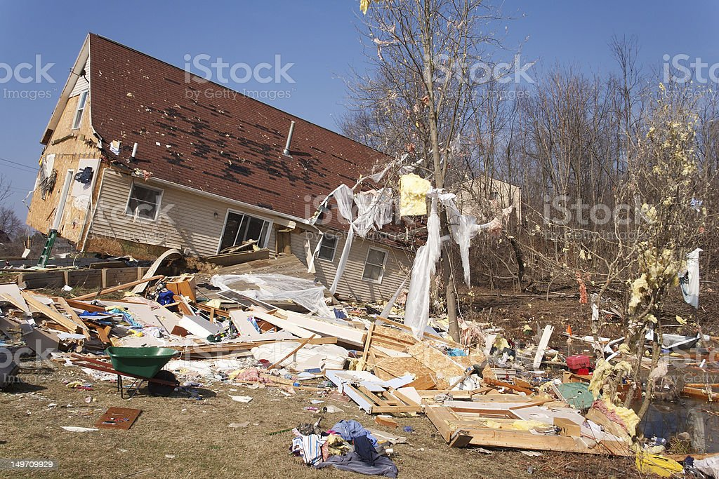 A severely damaged house from an F2 tornado in Lapeer MI stock photo