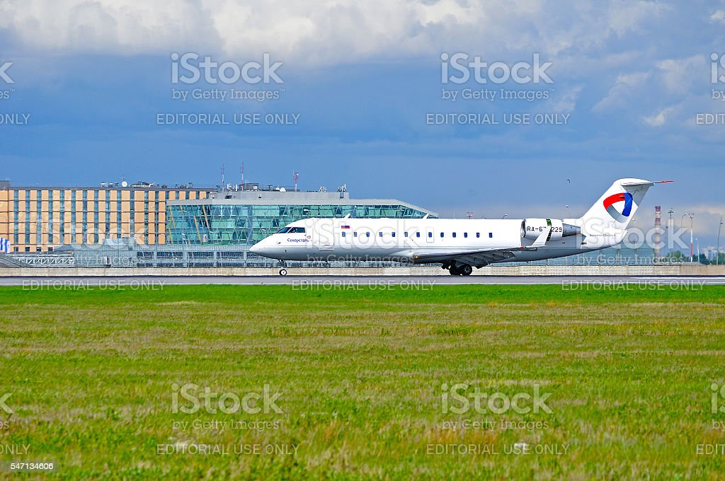 Severstal Aircompany Airlines Canadair CL604 Challenger airplane stock photo