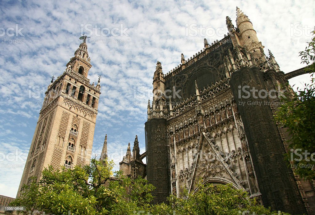 Sevilla Cathedral and the tower Giralda Spain royalty-free stock photo