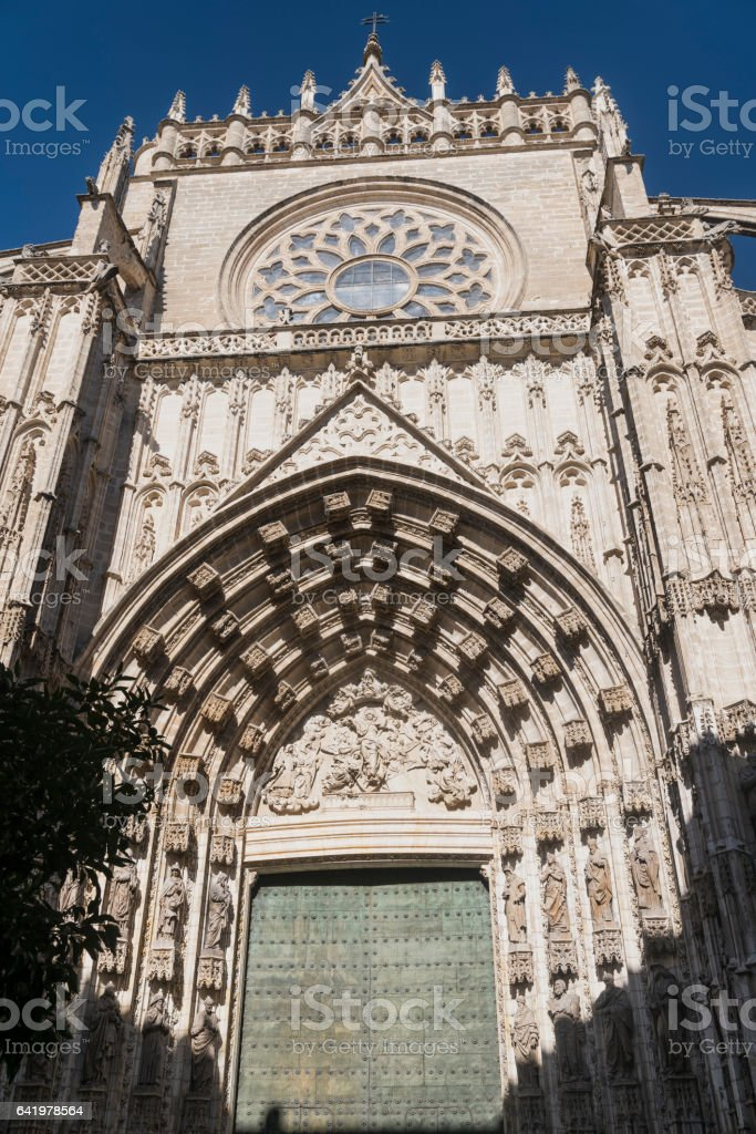 Sevilla (Andalucia, Spain): cathedral door stock photo