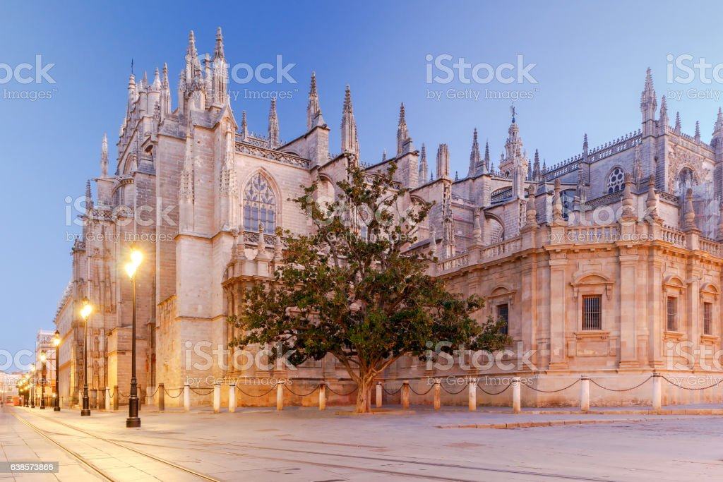 Sevilla. Cathedral in the early morning. stock photo