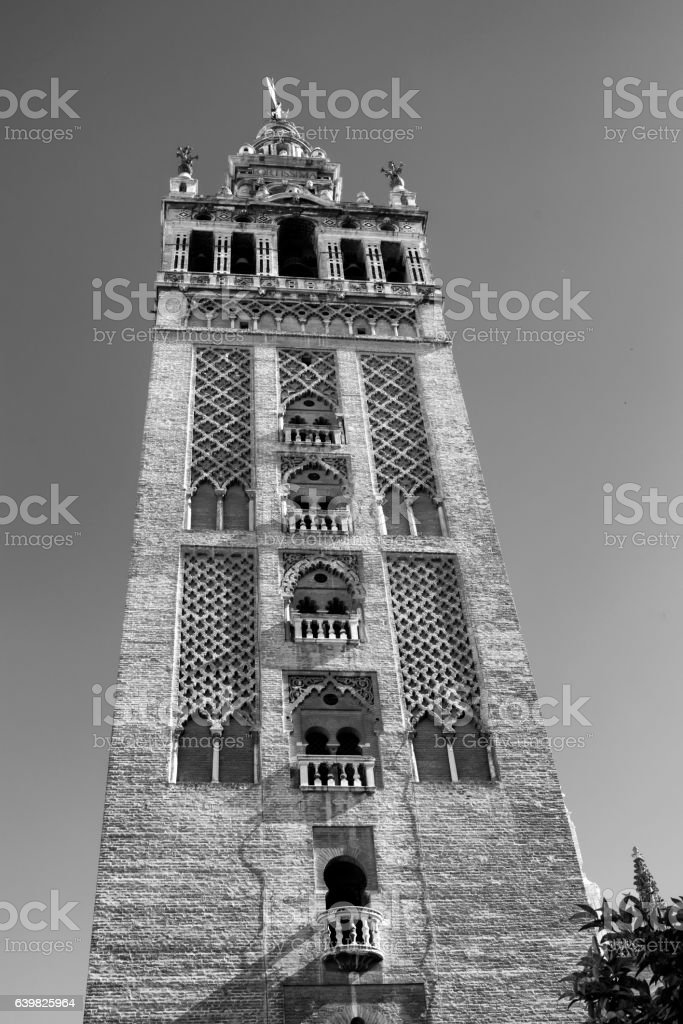 Sevilla (Andalucia, Spain): Giralda, cathedral belfry stock photo