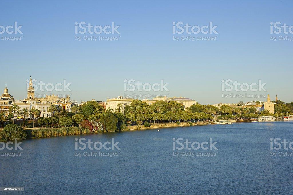 Sevilla on Guadalquivir river, Spain stock photo