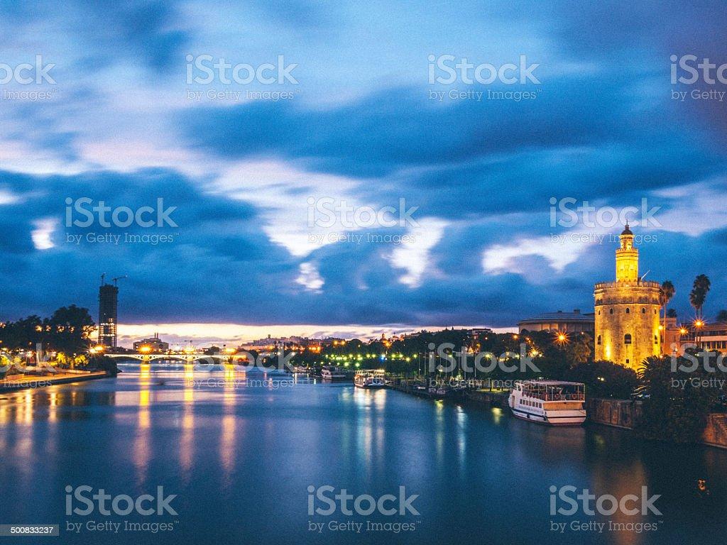 Sevilla, river at twilight stock photo