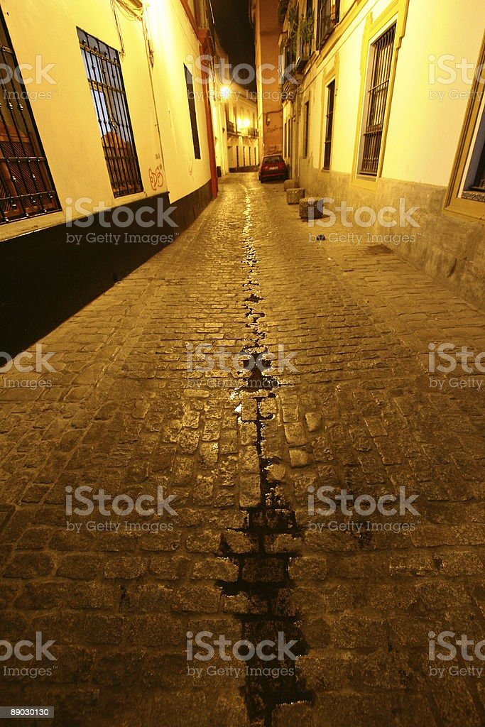 Sevilla street at night - Andalusia Spain royalty-free stock photo