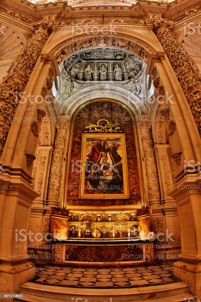 Seville (Sevilla), Andalusia, Southern Spain - March 14, 2017 - Chapel and Hall with interior of Cathedral of Saint Mary of the See (Catedral de Santa Maria de la Sede), or Seville Cathedral stock photo