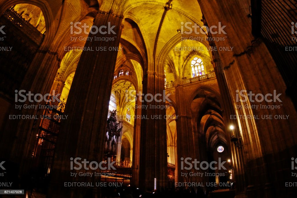 Seville (Sevilla), Andalusia, Spain - March 14, 2017 - Cathedral of Saint Mary of the See (Catedral de Santa Maria de la Sede), or Seville Cathedral, a Roman Catholic cathedral and the third-largest church in the world stock photo
