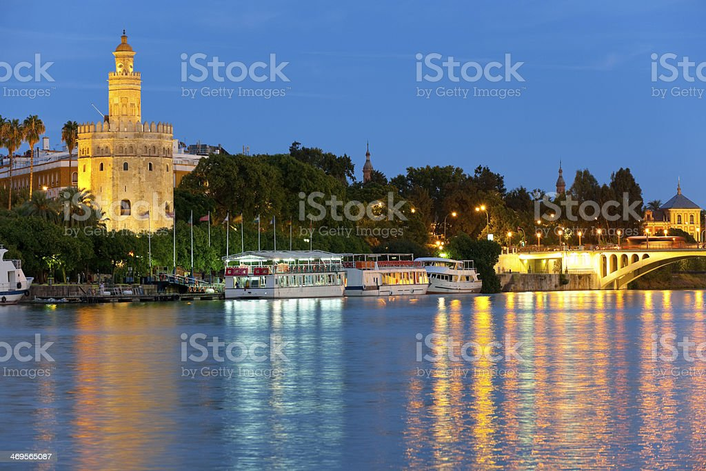 Seville at a summer night royalty-free stock photo