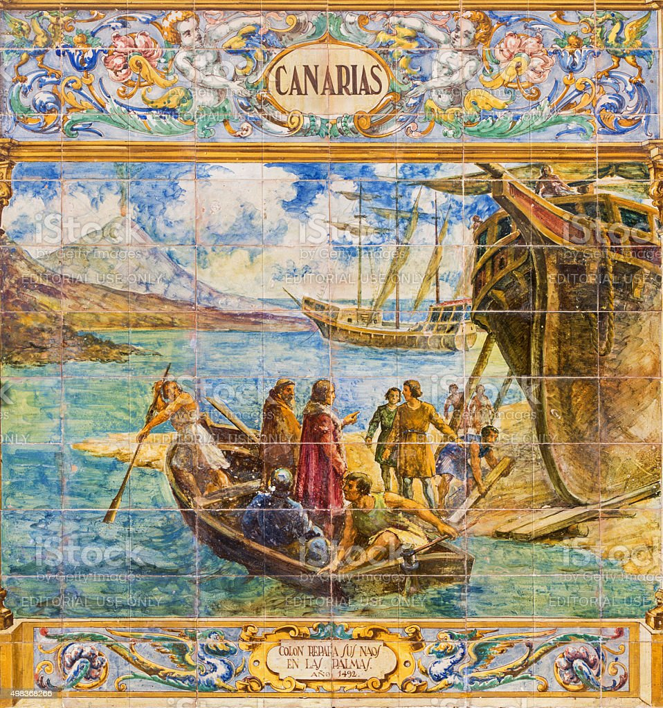 Seville - Canarias islands symbolic tiled on Plaza de Espana stock photo