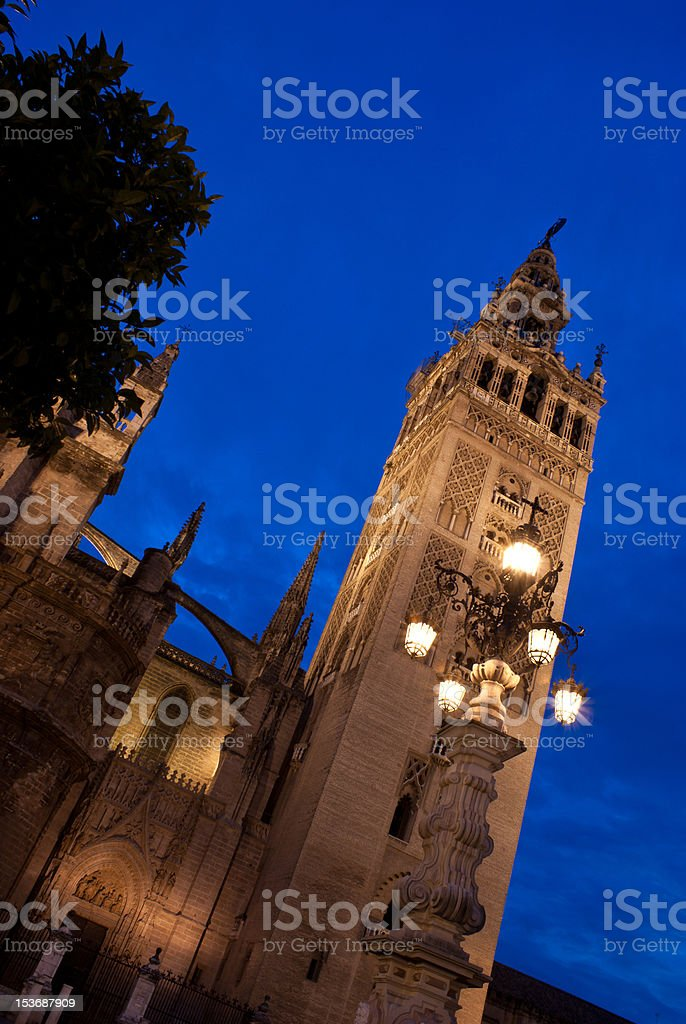 Seville cathedral at dusk royalty-free stock photo