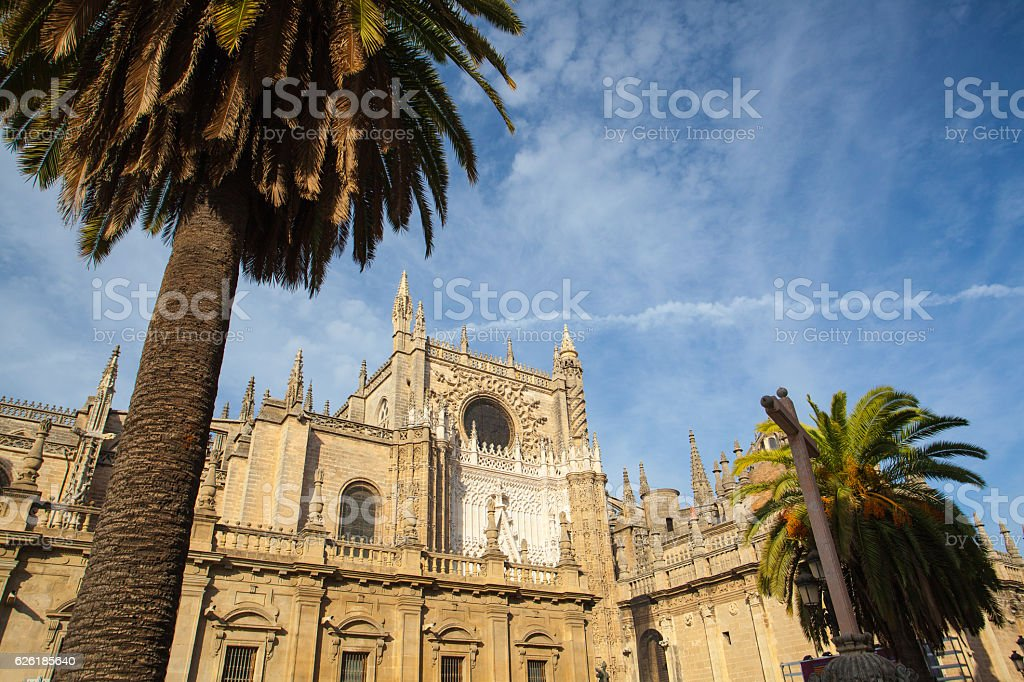 Seville Cathedral at sunset. Spain. stock photo