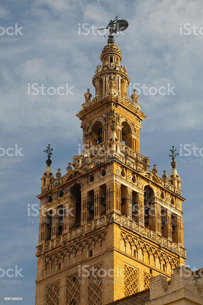 Seville Cathedral at sunset.Spain. stock photo