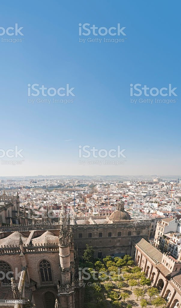Seville cathedral courtyard vertical cityscape stock photo