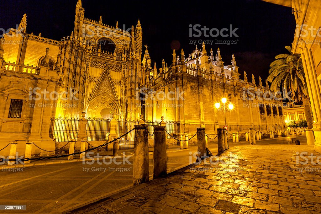 Seville Cathedral night stock photo