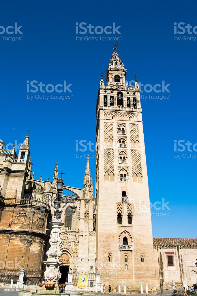 Seville Cathedral with the Giralda Tower in Seville called, Spai stock photo