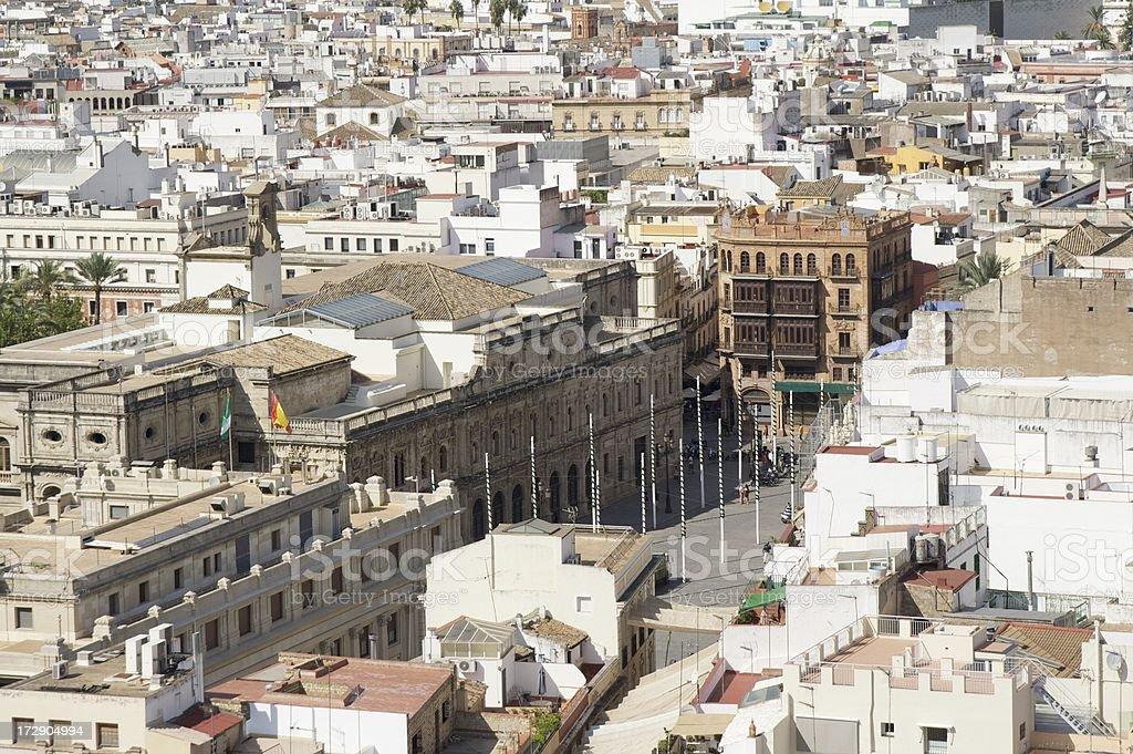 Seville City Hall (Ayuntamiento) in Plaza San Francisco From Above royalty-free stock photo