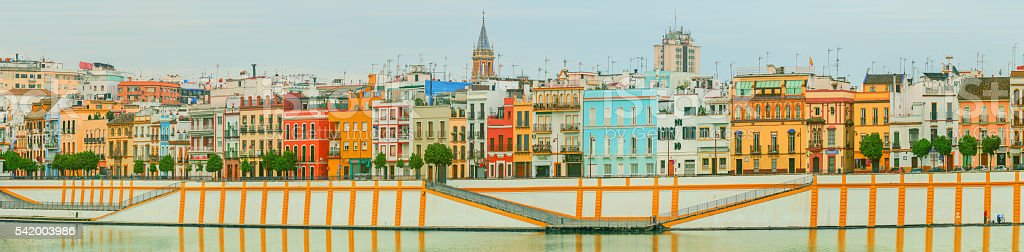 Seville cityscape with historical buildings, Spain stock photo