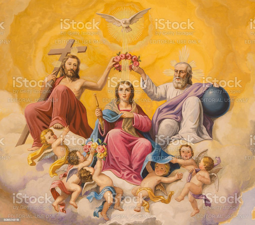 Seville - Coronation of Virgin Mary fresco stock photo