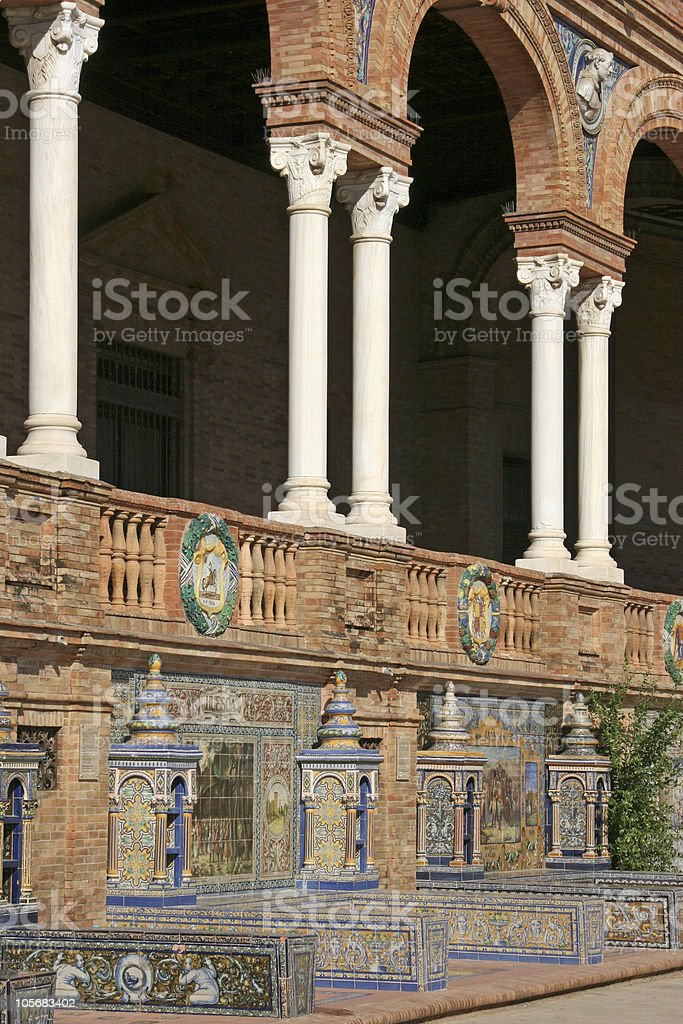 Seville - Detail of The Spanish Square royalty-free stock photo