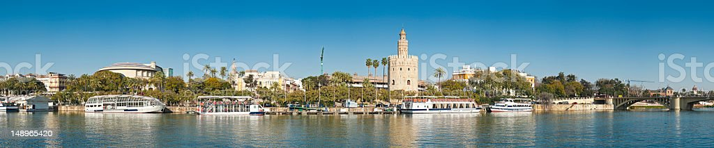 Seville El Arenal Torre del Oro riverside vista stock photo