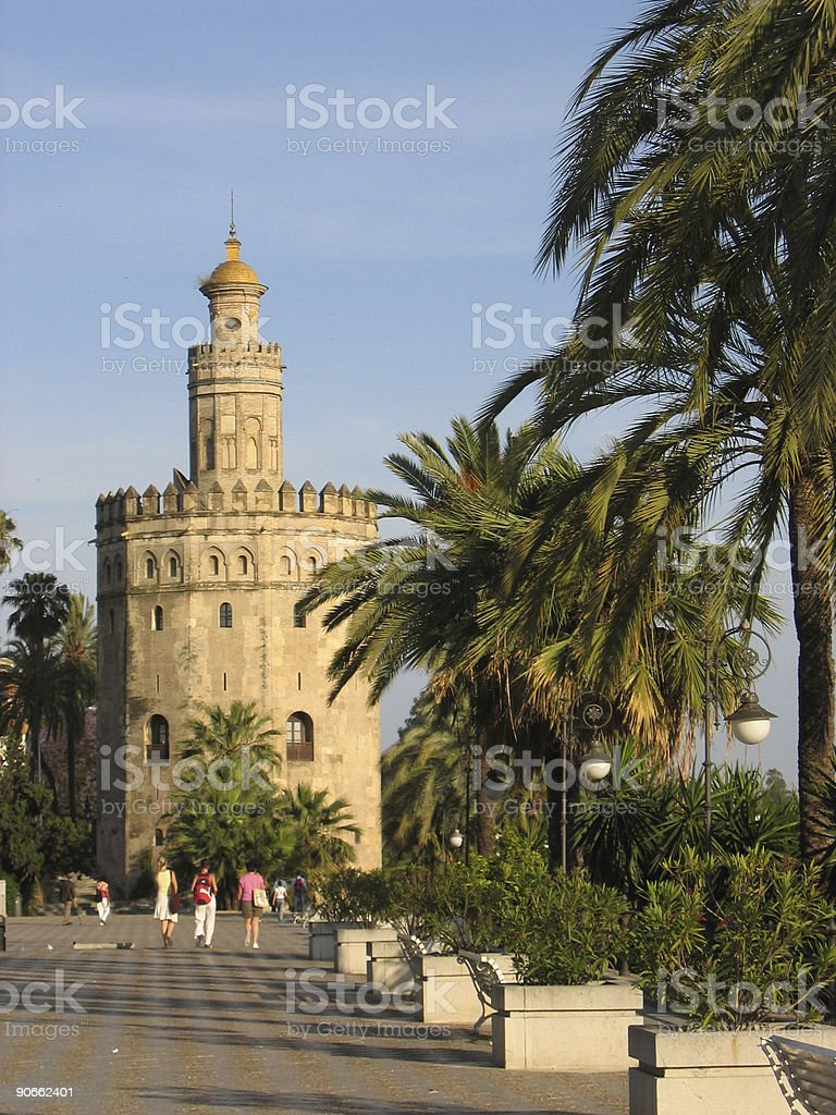 seville gold  tower andalucia spain royalty-free stock photo