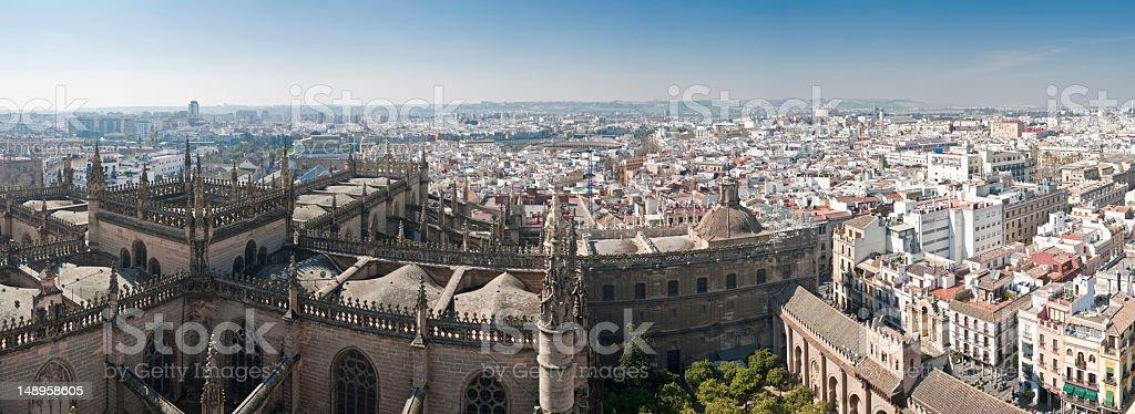 Seville landmarks cityscape panorama stock photo