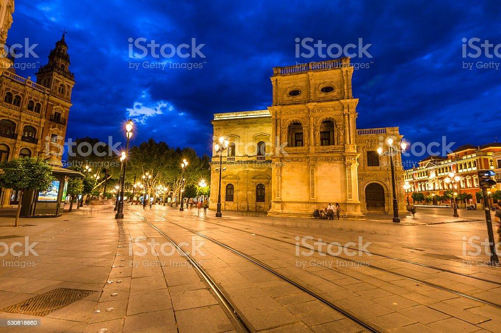Seville night scene stock photo