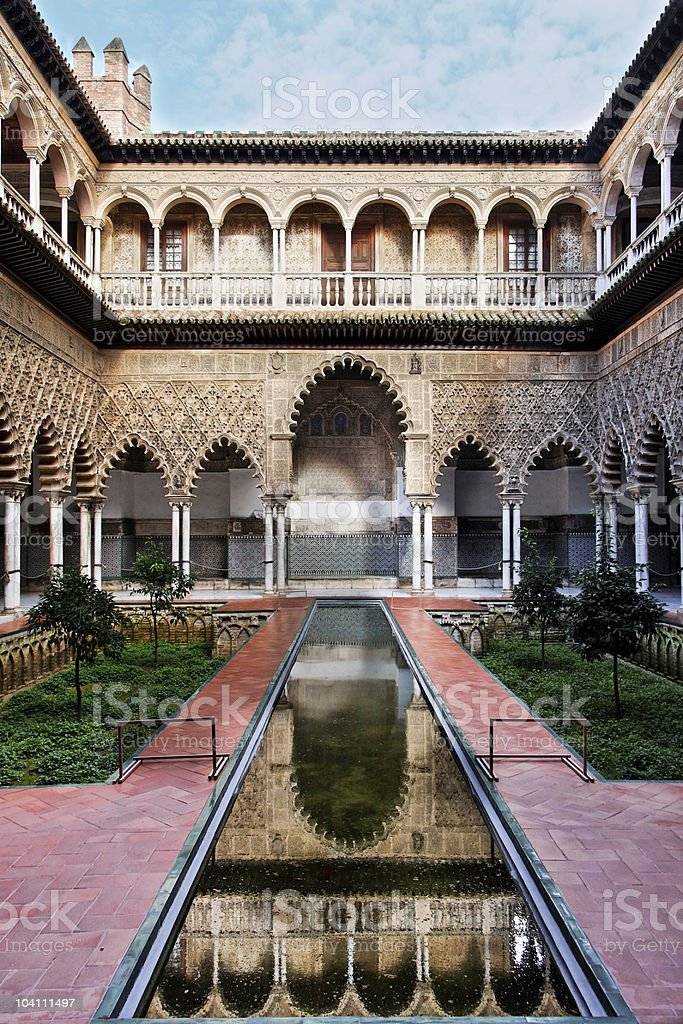 Seville, Patio de las Doncellas in Real Alcazar royalty-free stock photo
