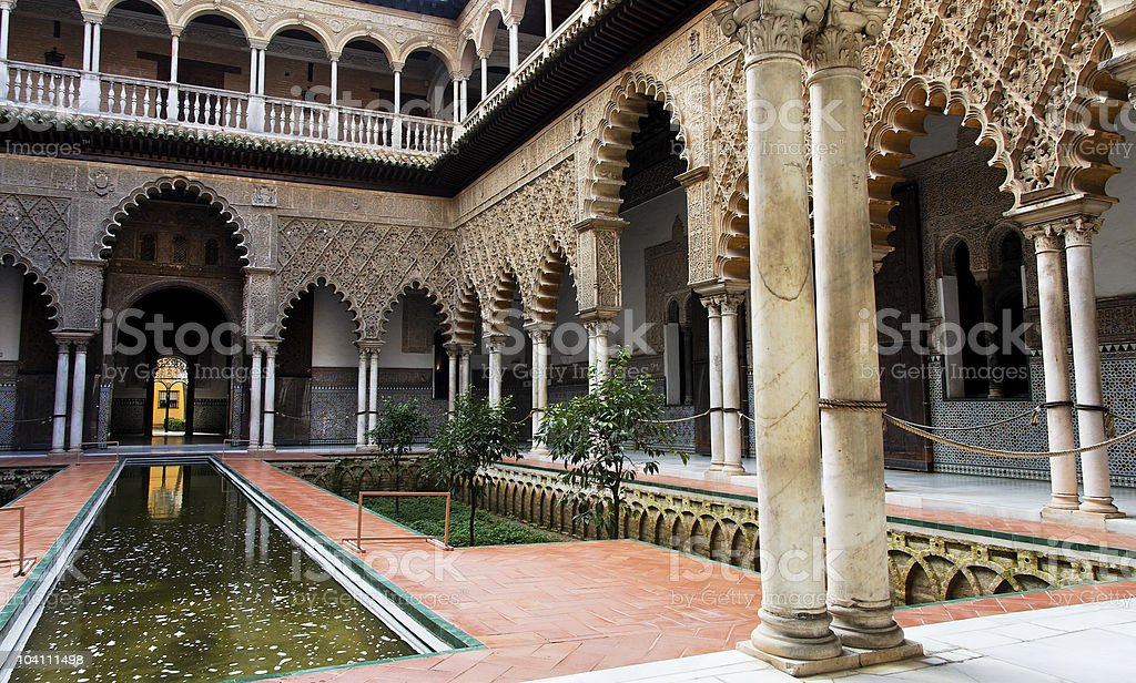 Seville, Patio de las Doncellas in Real Alcazar stock photo