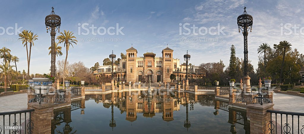 Seville Plaza de América reflected panorama stock photo