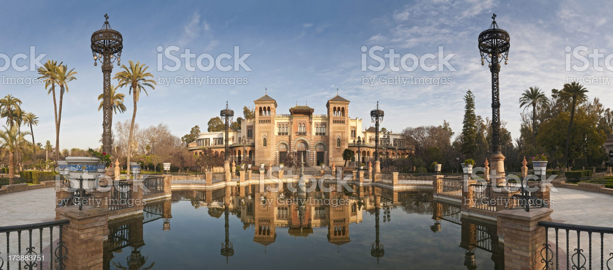 Seville Plaza de América reflected panorama royalty-free stock photo