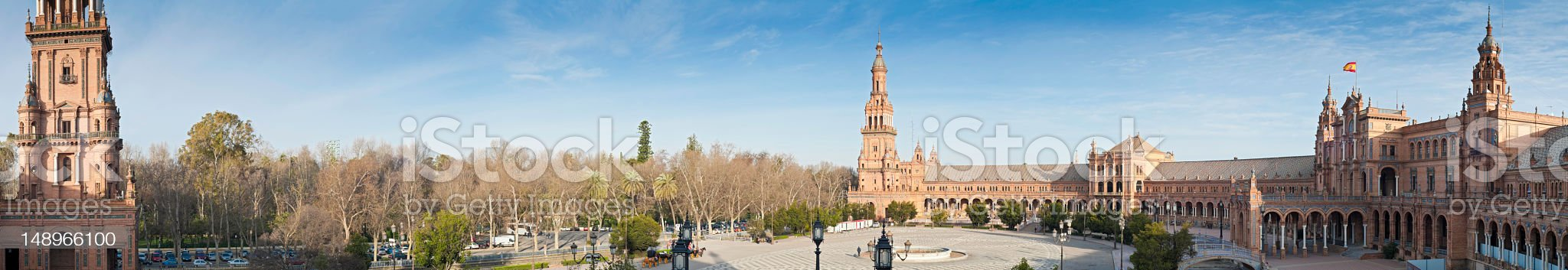 Seville Plaza de España panorama royalty-free stock photo