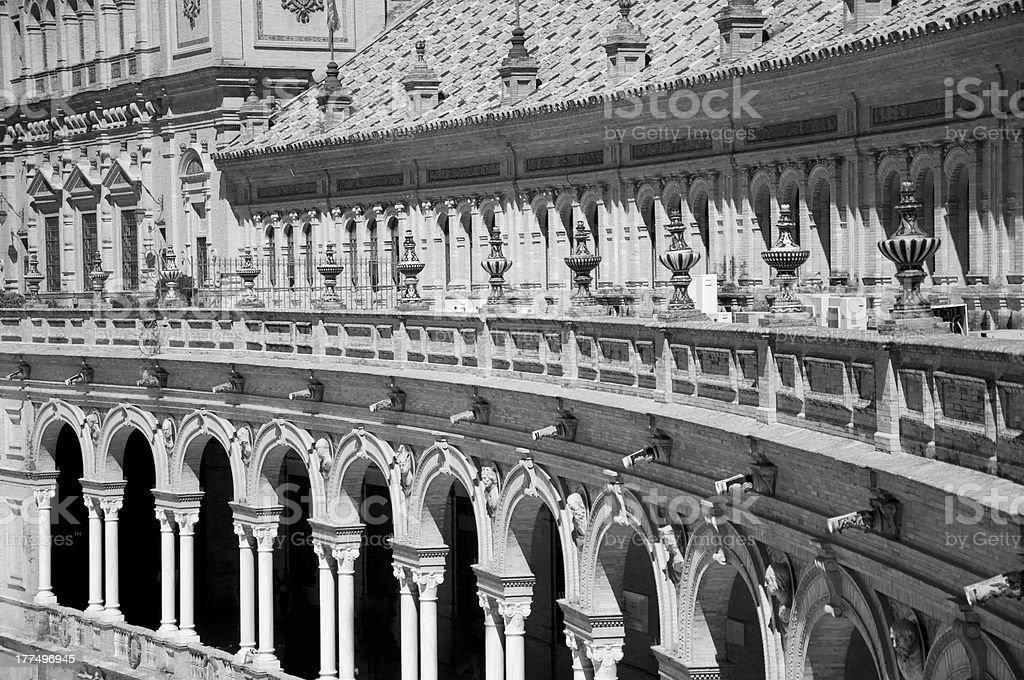 Seville, Plaza de Espana. Black and White. royalty-free stock photo