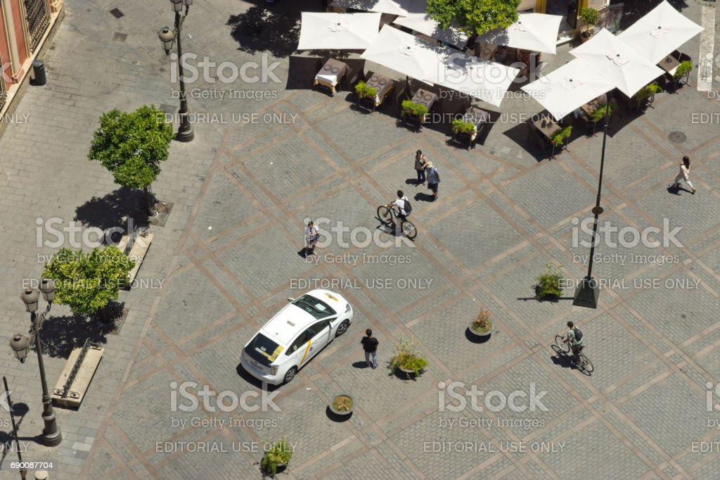 Seville plaza from above stock photo