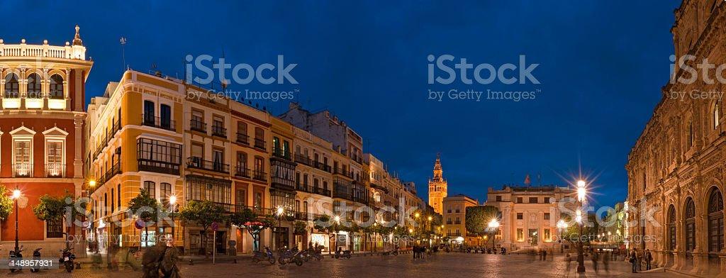 Seville plaza panorama blue dusk royalty-free stock photo
